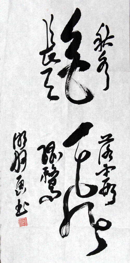 """陈湘舸教授的""""画书""""字作品之一:""""秋水共长天一色,落霞与孤鹜齐飞。"""""""