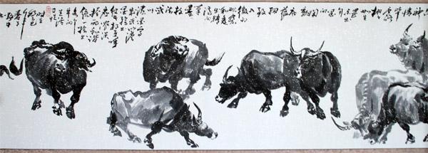 """""""牛王""""王玉常作品之一:百牛图长卷(局部)"""