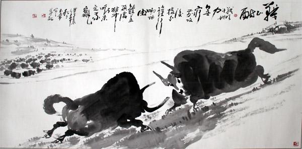"""""""牛王""""王玉常作品之一:战正酣。"""