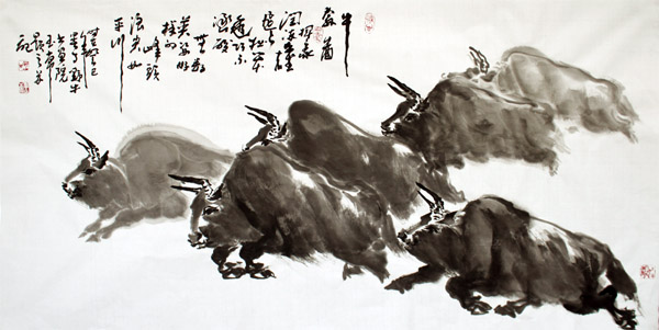 """""""牛王""""王玉常作品之一:牛奔图。"""