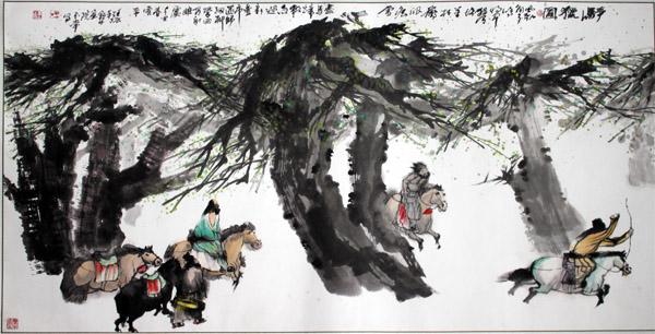 """""""牛王""""王玉常作品之一:骑猎图。"""